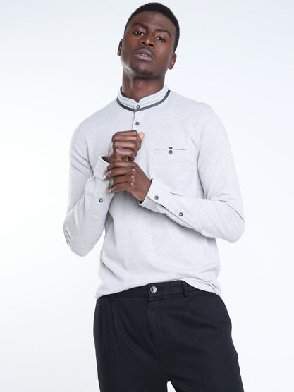 polo manches longues a boutons gris fonce