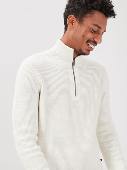 Pull manches longues zippe ecru homme