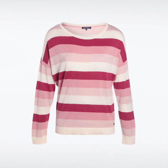 Pull manches longues col rond rose fushia femme