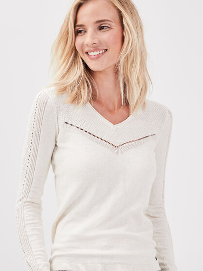 Pull manches longues ajoure creme femme