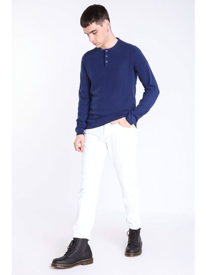 pull col rond homme maille chinee bleu fonce