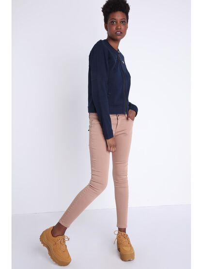 Pantalon skinny taille normale taupe femme