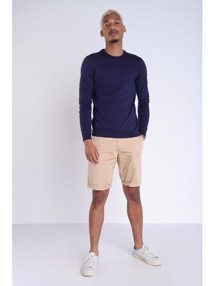 Pull Instinct manches longues bleu marine homme
