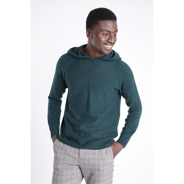 Pull manches longues capuche vert homme