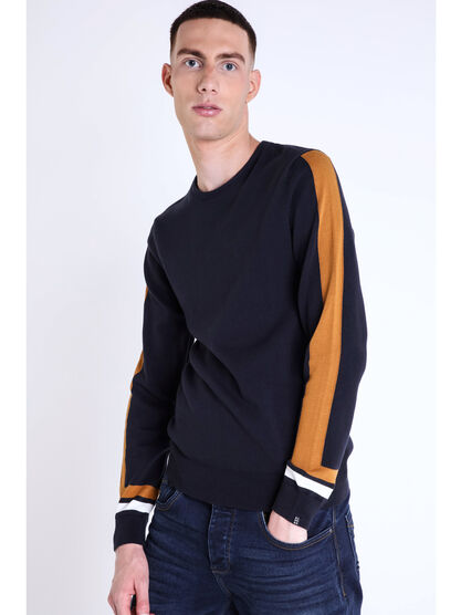 Pull col rond lignes colorees bleu marine homme