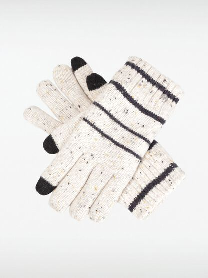 gants maille chinee a rayures homme beige