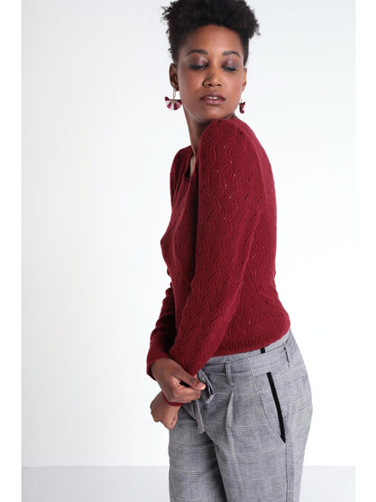 Pull manches longues torsade rouge femme