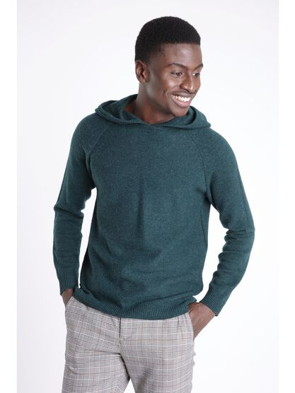 pull manches longues capuche vert