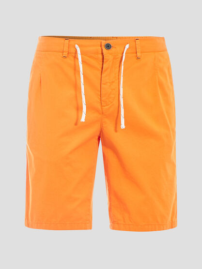Short court a cordons rayes orange homme