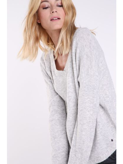 Pull manches longues maille gris clair femme