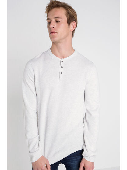 Pull col arrondi boutonne blanc homme