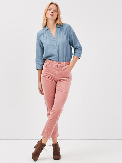 Pantalon mom velours cotele rose femme