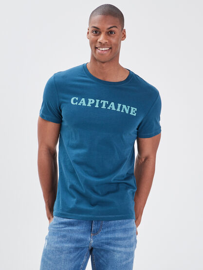T shirt eco responsable bleu petrole homme