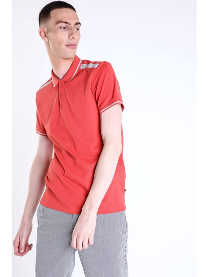 polo homme bandes contrastees rouge