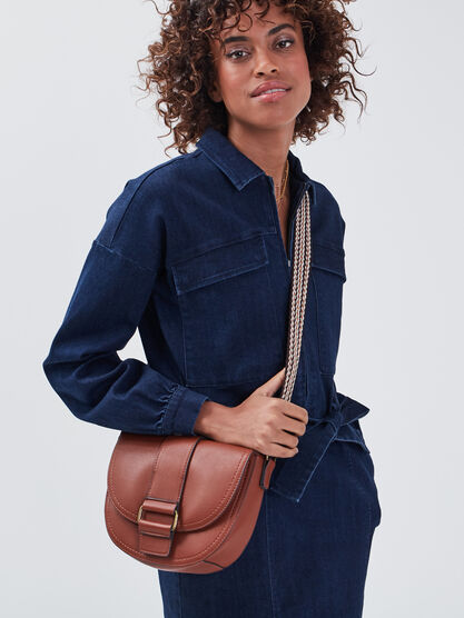 Sac besace a bandouliere large marron femme