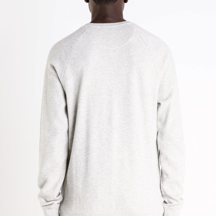 Sweat col rond homme maille chinée ECRU