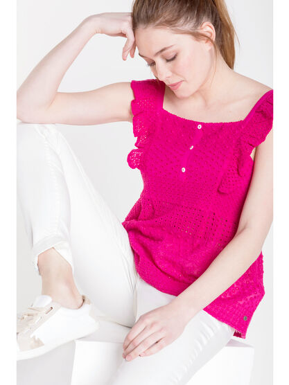 Top col carre broderies anglaises rose fushia femme