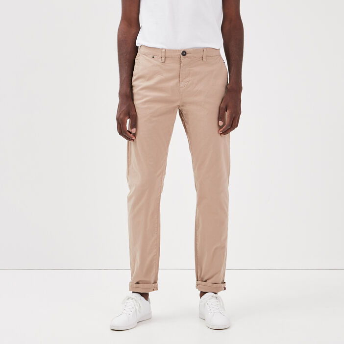 Pantalon straigth Instinct chino marron homme