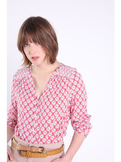 Chemise manches longues brodee rouge femme