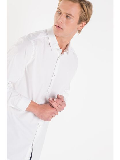 chemise slim col simple homme white