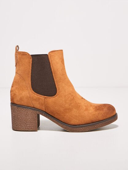 Bottines a talons carres marron femme