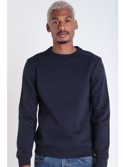 Sweat manches longues col rond bleu fonce homme