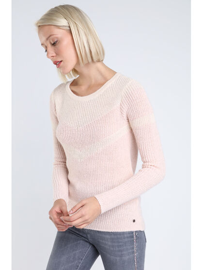 Pull col rond imprime colorblock rose clair femme