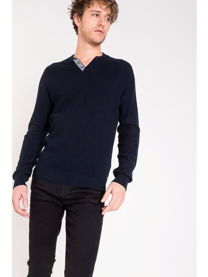 Pull maille chinee bleu fonce homme