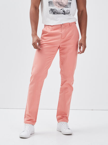 Pantalon slim Instinct chino rose saumon homme