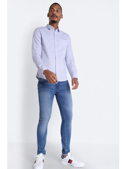 Jeans skinny passant a bandes denim stone homme