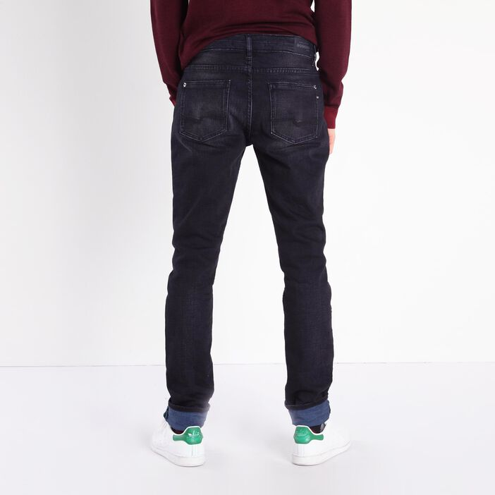 Jeans slim taille standard used denim snow noir homme