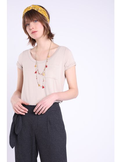 t shirt manches courtes poche taupe