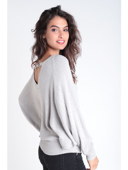 31314b664e Pull manches longues col rond gris femme