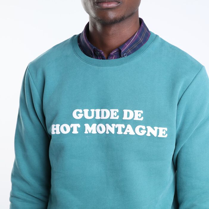 Sweat manches longues col rond vert homme