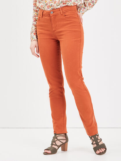 Pantalon slim orange fonce femme