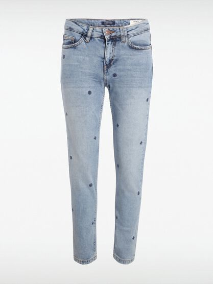 jeans slim femme effet used brode denim bleach