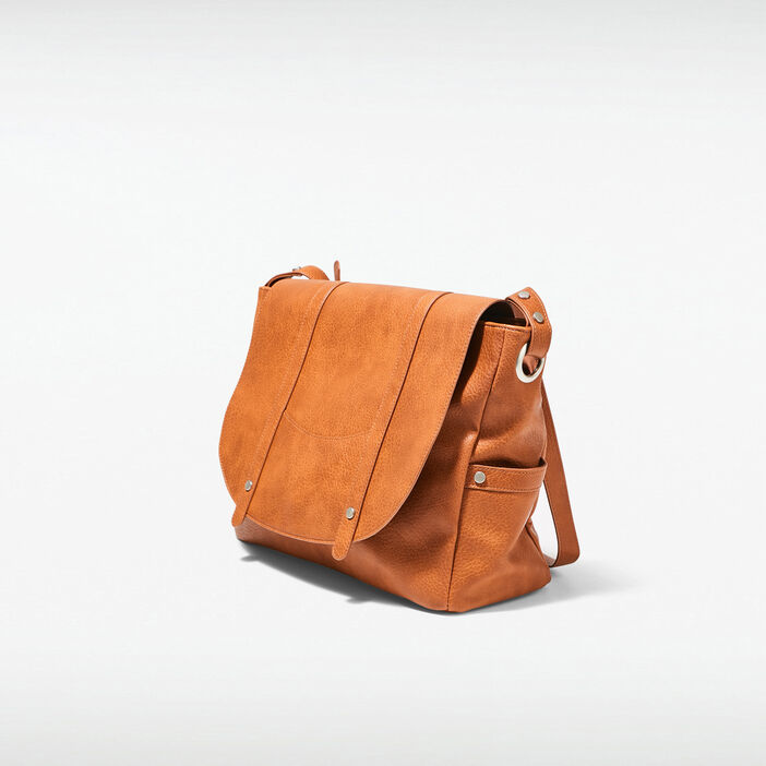 Sac besace rectangulaire marron femme