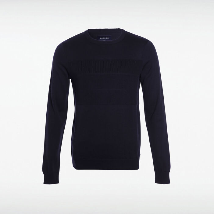 Pull col rond maille relief bleu homme