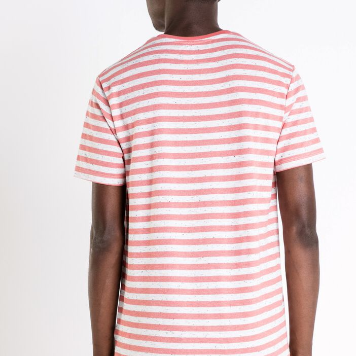T-shirt col rond homme rayures chinées ORANGE CLAIR