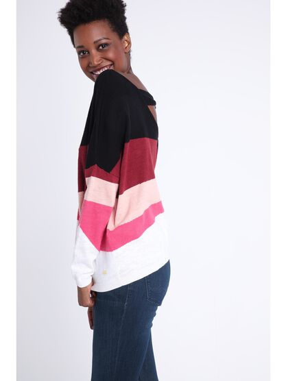 Pull manches longues decollete rouge fonce femme