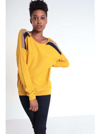 Pull manches longues a bandes jaune moutarde femme