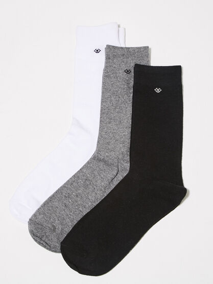 Lot 3 paires de chaussettes unies multicolore homme