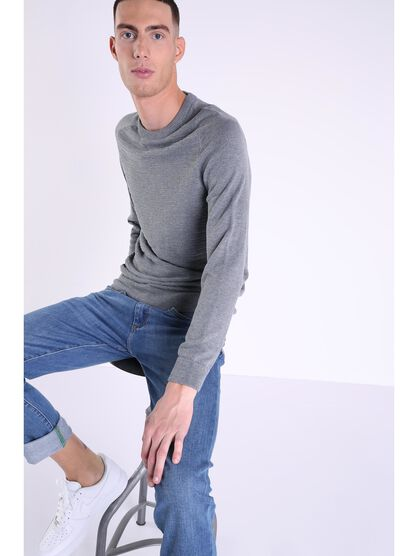 pull col rond homme maille moulinee gris