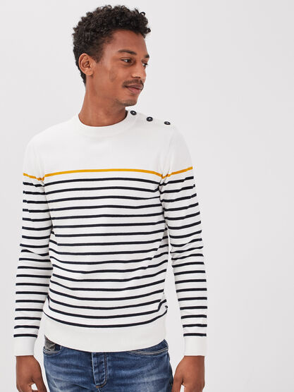 Pull eco responsable ecru homme
