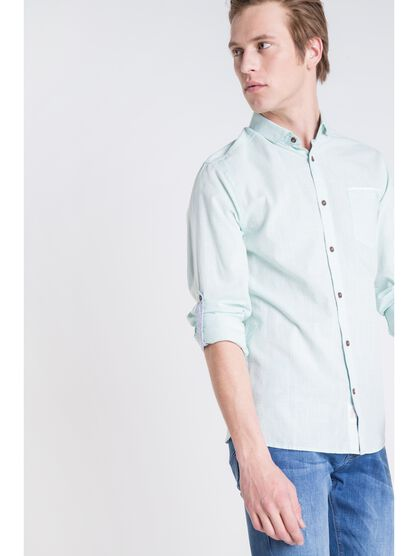 chemise col italien homme chambray vert turquoise