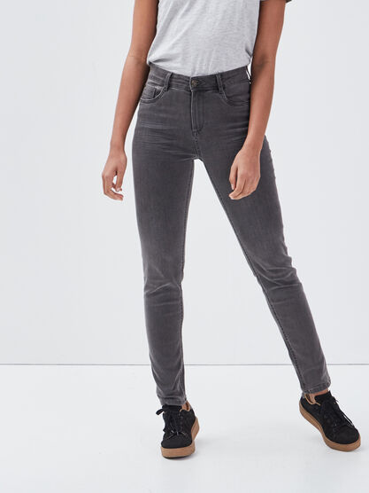 Jean recycle slim denim gris femme