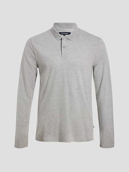 Polo manches longues gris fonce homme