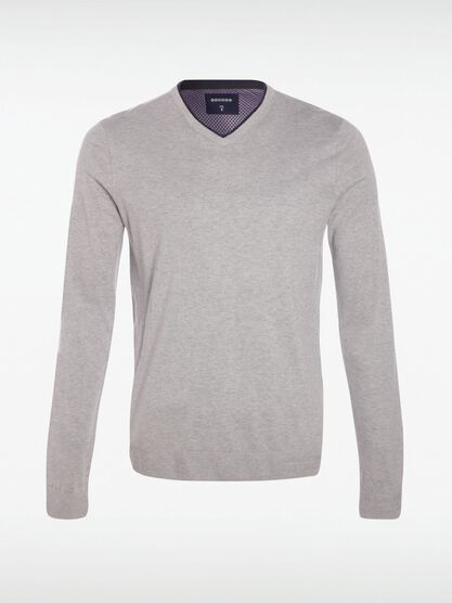 pull manches longues col v gris clair
