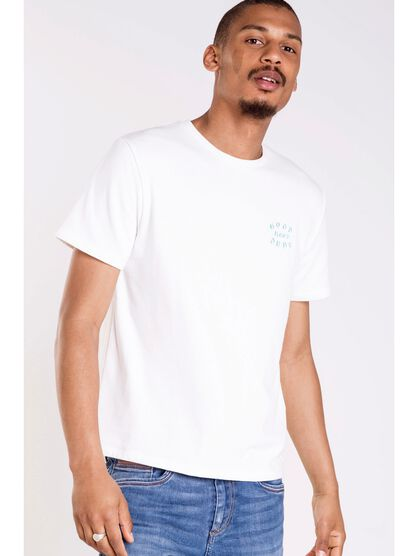 t shirt col rond homme broderies blanc