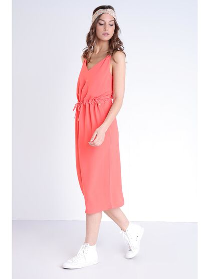 Robe fluide unie sans manches orange corail femme